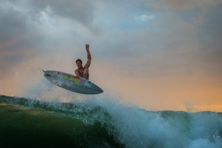 Indo surfing on the Minion Model 2016 featuring Brad Wallace; image by Mick Andrews Photography